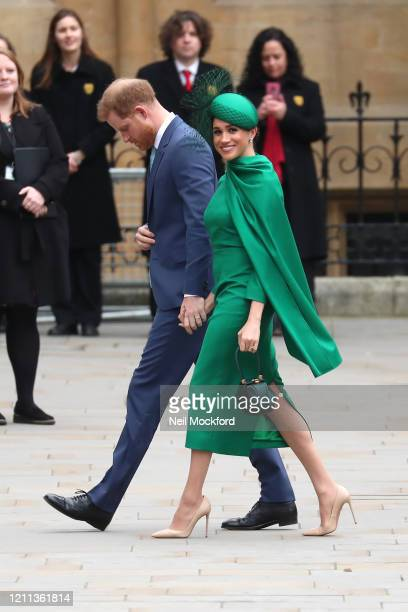 Prince Harry Duke of Sussex and Meghan Duchess of Sussex attend the Commonwealth Day Service 2020 on March 09 2020 in London England