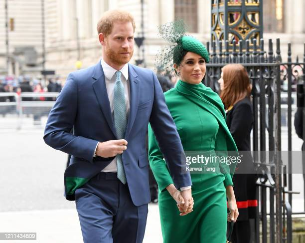 Prince Harry, Duke of Sussex and Meghan, Duchess of Sussex attend the Commonwealth Day Service 2020 at Westminster Abbey on March 09, 2020 in London,...