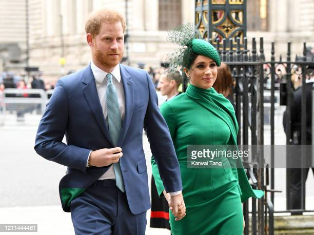 Prince Harry Duke of Sussex and Meghan Duchess of Sussex attend the Commonwealth Day Service 2020 at Westminster Abbey on March 09 2020 in London...