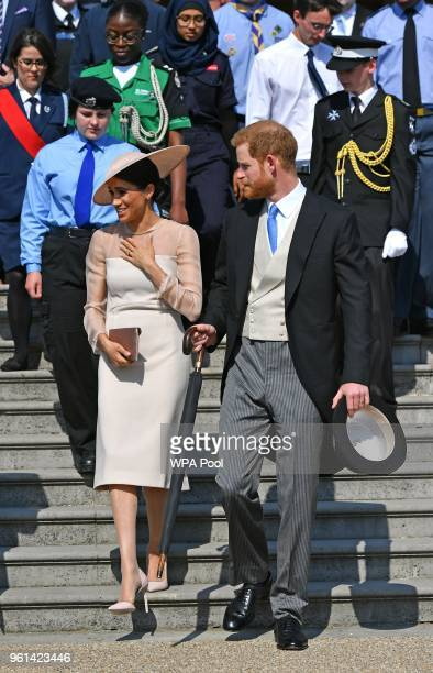 Prince Harry Duke of Sussex and Meghan Duchess of Sussex attend The Prince of Wales' 70th Birthday Patronage Celebration held at Buckingham Palace on...