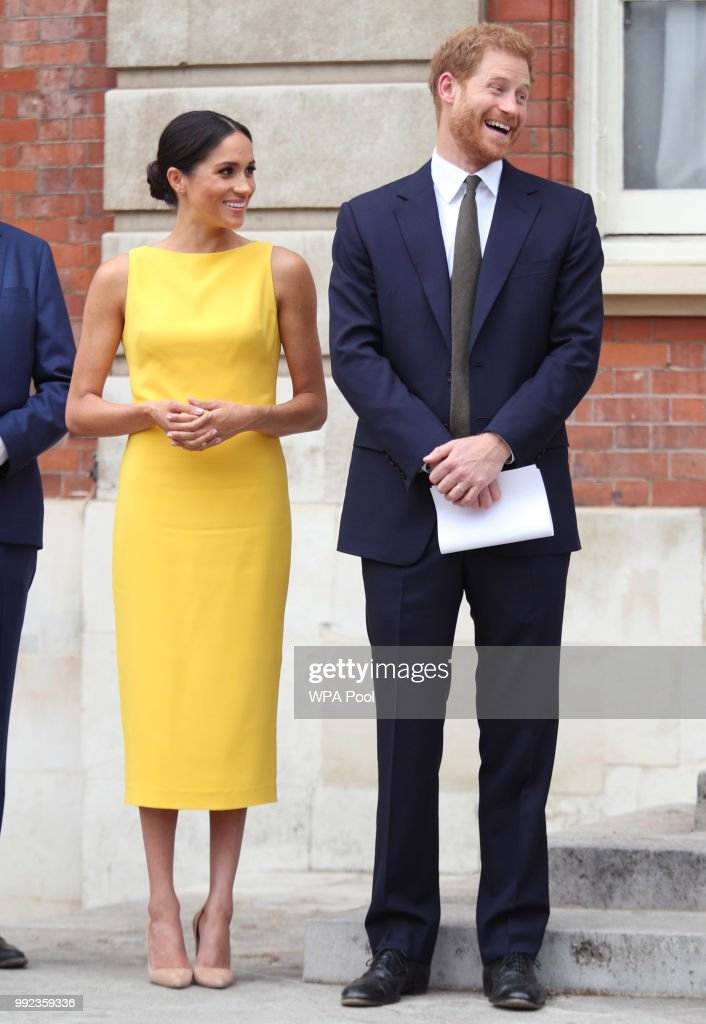 Prince Harry, Duke of Sussex and Meghan, Duchess of Sussex attend the Your Commonwealth Youth Challenge reception at Marlborough House on July 05, 2018 in London, England.
