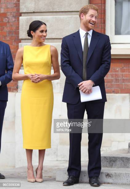 Prince Harry Duke of Sussex and Meghan Duchess of Sussex attend the Your Commonwealth Youth Challenge reception at Marlborough House on July 05 2018...