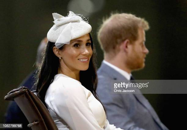 Prince Harry Duke of Sussex and Meghan Duchess of Sussex attends a welcome ceremony in Albert Park on October 23 2018 in Suva Fiji The Duke and...