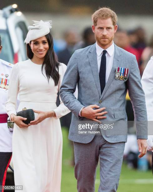 Prince Harry Duke of Sussex and Meghan Duchess of Sussex attends an official welcome ceremony in the city centre's Albert Park on October 23 2018 in...