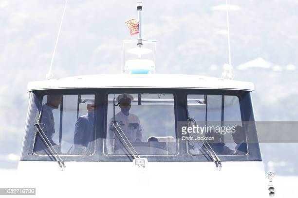 Prince Harry, Duke of Sussex and Meghan, Duchess of Sussex board a boat from Taronga Zoo and head to the Man O'War Steps on October 16, 2018 in...