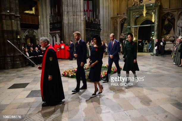 Prince Harry, Duke of Sussex and Meghan, Duchess of Sussex, Britain's Prince William, Duke of Cambridge, and Catherine, Duchess of Cambridge arrive...