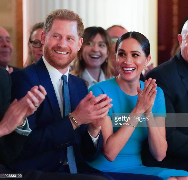 Prince Harry, Duke of Sussex and Meghan, Duchess of Sussex cheer attend the annual Endeavour Fund Awards at Mansion House on March 5, 2020 in London,...