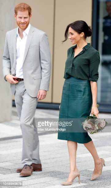 Prince Harry Duke of Sussex and Meghan Duchess of Sussex depart after visiting the University of Chichester's Engineering and Technology Park on...