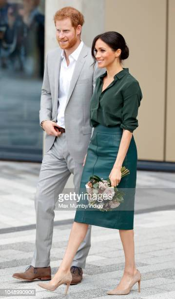 Prince Harry, Duke of Sussex and Meghan, Duchess of Sussex depart after visiting the University of Chichester's Engineering and Technology Park on...