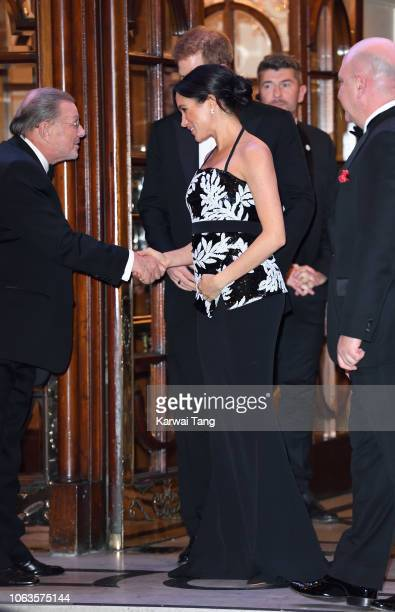 Prince Harry Duke of Sussex and Meghan Duchess of Sussex depart after attending the Royal Variety Performance 2018 at London Palladium on November 19...