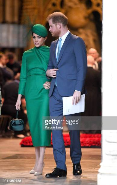 Prince Harry Duke of Sussex and Meghan Duchess of Sussex depart after attending the Commonwealth Day Service 2020 at Westminster Abbey on March 09...