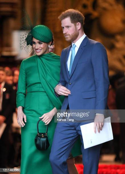 Prince Harry, Duke of Sussex and Meghan, Duchess of Sussex depart after attending the Commonwealth Day Service 2020 at Westminster Abbey on March 09,...