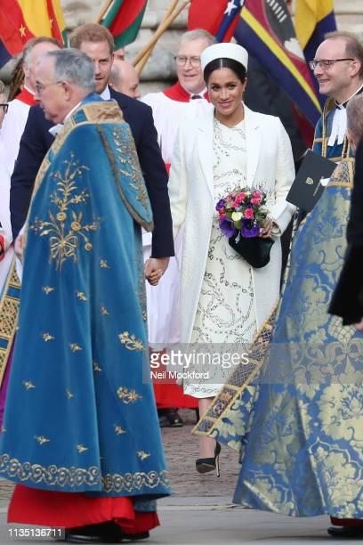 Prince Harry, Duke of Sussex and Meghan, Duchess of Sussex depart Commonwealth Day 2019 at Westminster Abbey on March 11, 2019 in London, England.