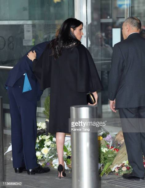 Prince Harry Duke of Sussex and Meghan Duchess of Sussex depart New Zealand House after signing the book of condolence following the recent terror...