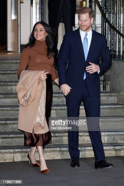 Prince Harry Duke of Sussex and Meghan Duchess of Sussex depart Canada House on January 07 2020 in London England