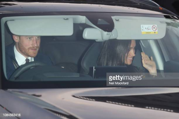 Prince Harry Duke of Sussex and Meghan Duchess of Sussex depart Buckingham Palace after the Queen's Christmas Lunch on December 19 2018 in London...