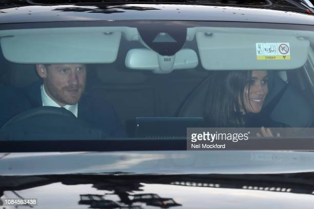 Prince Harry, Duke of Sussex and Meghan, Duchess of Sussex depart Buckingham Palace after the Queen's Christmas Lunch on December 19, 2018 in London,...