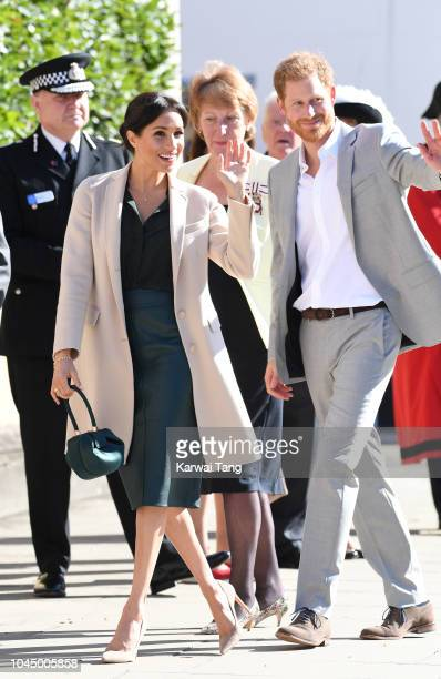 Prince Harry Duke of Sussex and Meghan Duchess of Sussex during an official visit to Sussex on October 3 2018 in Chichester United Kingdom The Duke...