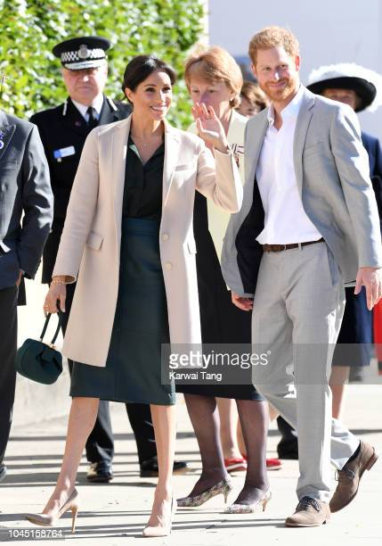 Prince Harry, Duke of Sussex and Meghan, Duchess of Sussex during an official visit to Sussex on October 3, 2018 in Chichester, United Kingdom. The...