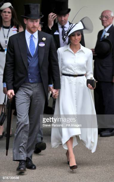 Prince Harry Duke of Sussex and Meghan Duchess of Sussex during day one of Royal Ascot at Ascot Racecourse