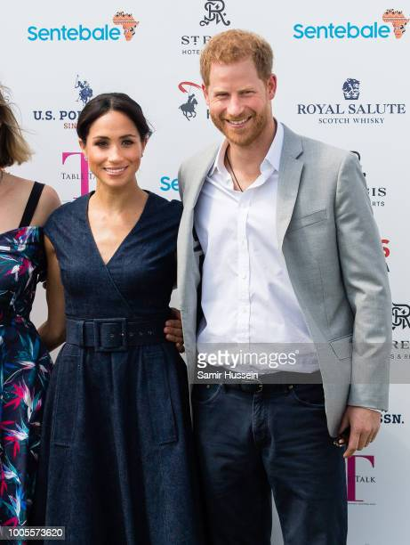 Prince Harry Duke of Sussex and Meghan Duchess of Sussex during the Sentebale Polo 2018 held at the Royal County of Berkshire Polo Club on July 26...