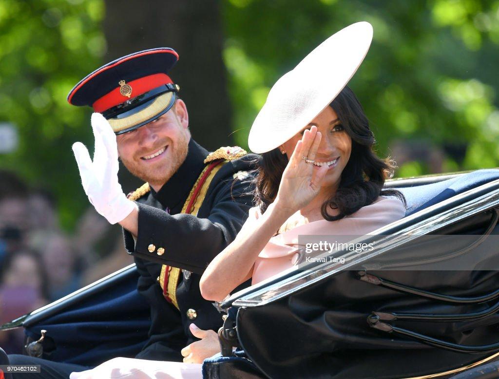 Prince Harry, Duke of Sussex and Meghan, Duchess of Sussex during Trooping The Colour 2018 at The Mall on June 9, 2018 in London, England. The annual ceremony involving over 1400 guardsmen and cavalry, is believed to have first been performed during the reign of King Charles II. The parade marks the official birthday of the Sovereign, even though the Queen's actual birthday is on April 21st.