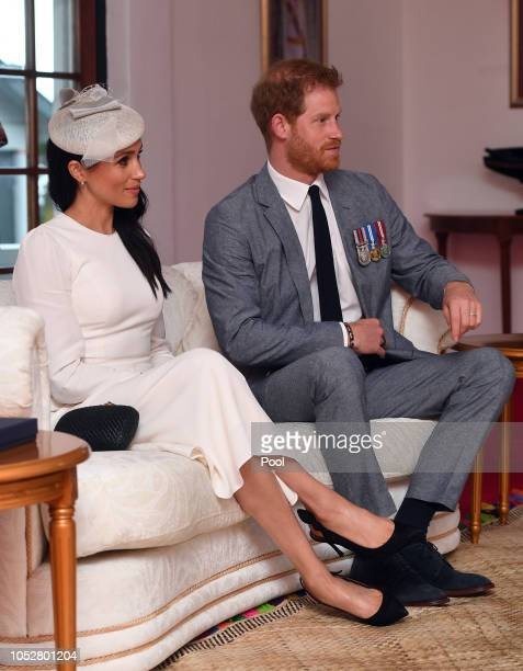 Prince Harry Duke of Sussex and Meghan Duchess of Sussex during their meeting with President of Fiji Jioji Konrote on the first day of their tour to...