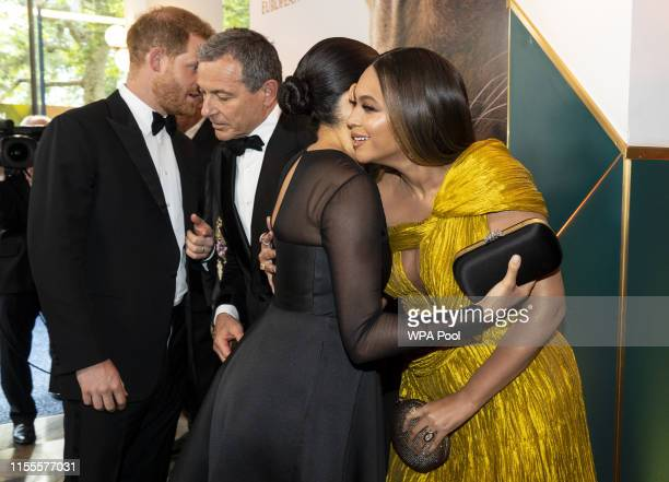 Prince Harry, Duke of Sussex and Meghan, Duchess of Sussex greet Disney CEO Robert Iger US singer-songwriter Beyoncé at the European Premiere of...