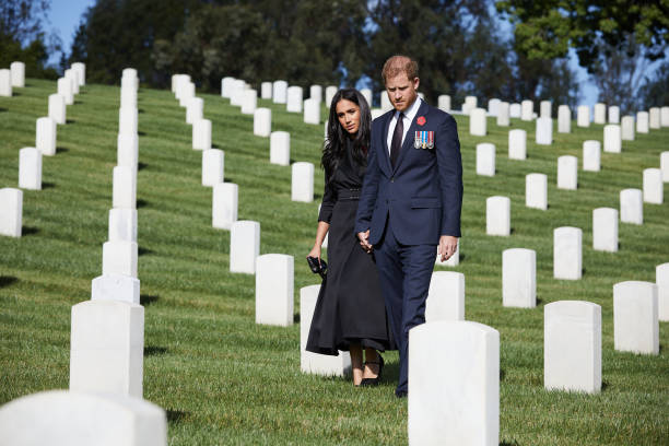 CA: Duke And Duchess Of Sussex Lay Wreath At  Los Angeles National Cemetery For Remembrance Sunday