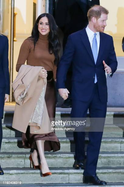 Prince Harry Duke of Sussex and Meghan Duchess of Sussex leave Canada House in London United Kingdom on January 7 2020 Duke and Duchess of Sussex met...