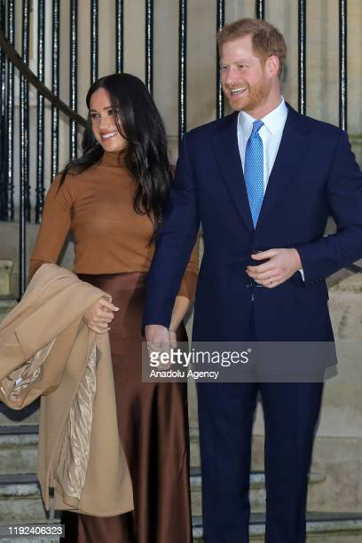 Prince Harry, Duke of Sussex and Meghan, Duchess of Sussex leave Canada House in London, United Kingdom on January 7, 2020. Duke and Duchess of...