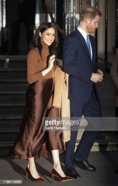 Prince Harry, Duke of Sussex and Meghan, Duchess of Sussex leave Canada House on January 07, 2020 in London, England.