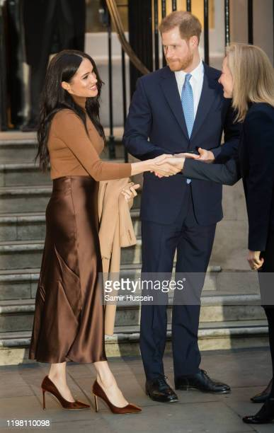 Prince Harry Duke of Sussex and Meghan Duchess of Sussex leave Canada House on January 07 2020 in London England
