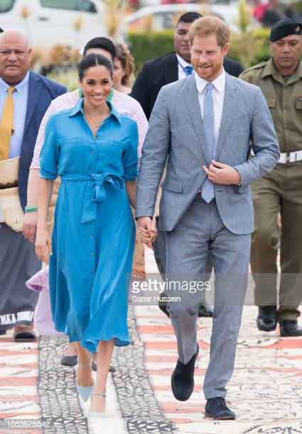 Prince Harry Duke of Sussex and Meghan Duchess of Sussex leave Nuku'alofa airport on October 26 2018 in Nuku'alofa Tonga The Duke and Duchess of...