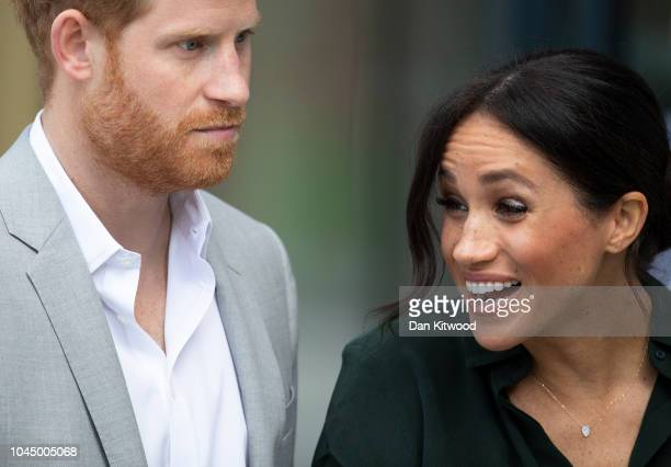 Prince Harry Duke of Sussex and Meghan Duchess of Sussex leave the University of Chichester's Engineering and Digital Technology Park after an...