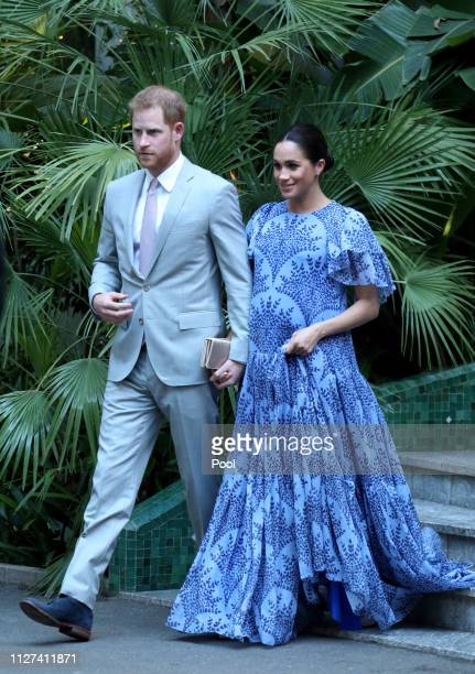 Prince Harry Duke of Sussex and Meghan Duchess of Sussex leave the residence of King Mohammed VI of Morocco after an audience in Rabat on February 25...