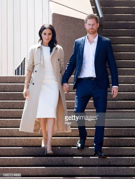 Prince Harry Duke of Sussex and Meghan Duchess of Sussex meet and greet the public at the Sydney Opera House on October 16 2018 in Sydney Australia...