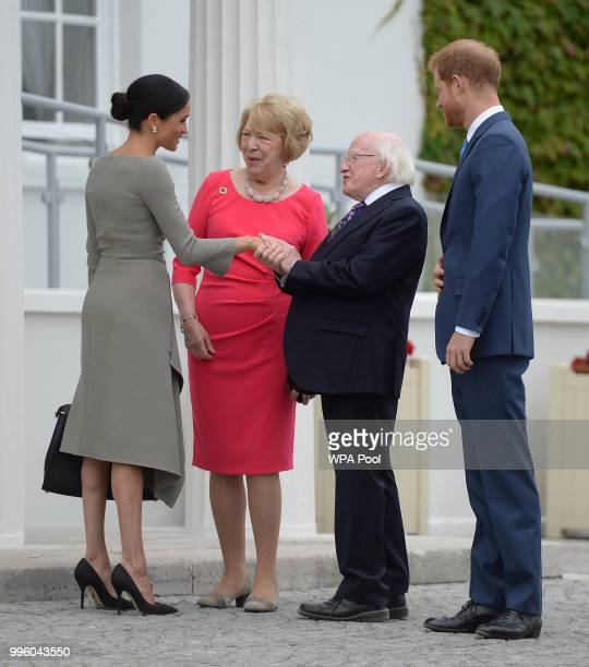 Prince Harry Duke of Sussex and Meghan Duchess of Sussex meet Ireland's President Michael Higgins and his wife Sabina Coyne at Aras an Uachtarain...