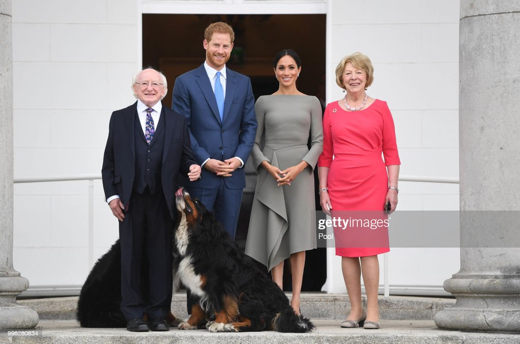 Prince Harry, Duke of Sussex and Meghan, Duchess of Sussex meet President Michael Higgins and his wife Sabina Coyne at Aras an Uachtarain during their visit to Ireland on July 11, 2018 in Dublin, Ireland.