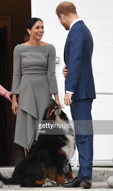 Prince Harry Duke of Sussex and Meghan Duchess of Sussex meet President Michael Higgins and his wife Sabina Coyne at Aras an Uachtarain during their...