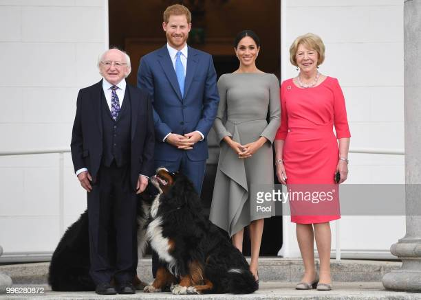 Prince Harry, Duke of Sussex and Meghan, Duchess of Sussex meet President Michael Higgins and his wife Sabina Coyne at Aras an Uachtarain during...