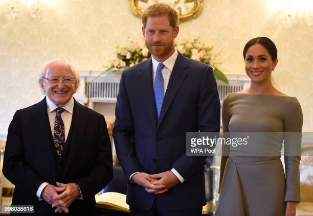 Prince Harry Duke of Sussex and Meghan Duchess of Sussex meet Ireland's President Michael Higgins at Aras an Uachtarain during day two of their visit...