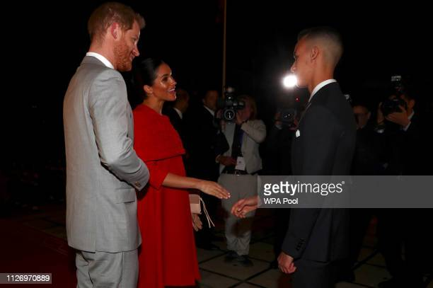 Prince Harry Duke of Sussex and Meghan Duchess of Sussex meet Crown Prince of Morocco Moulay Hassan at a Royal Residence on February 23 2019 in Rabat...