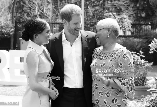 Prince Harry, Duke of Sussex and Meghan, Duchess of Sussex meet Graca Machel, widow of the late Nelson Mandela on October 02, 2019 in Johannesburg,...
