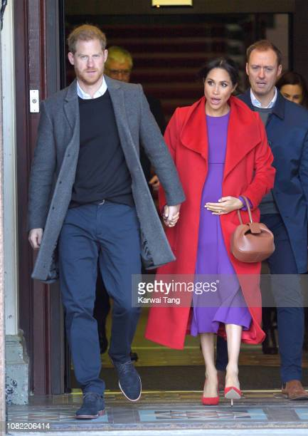 Prince Harry, Duke of Sussex and Meghan, Duchess of Sussex meet members of the public during a visit of Birkenhead at Hamilton Square on January 14,...
