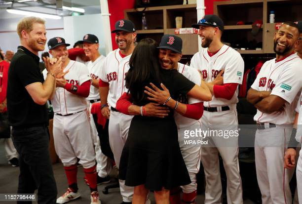 Prince Harry Duke of Sussex and Meghan Duchess of Sussex meet members of the Boston Red Sox before their game against the New York Yankees at London...