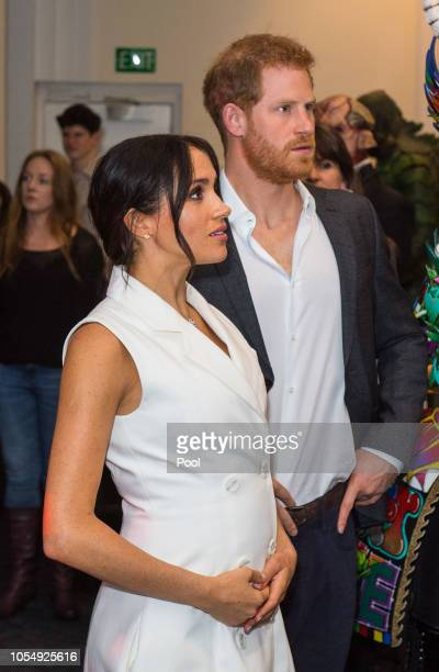 Prince Harry Duke of Sussex and Meghan Duchess of Sussex meet models wearing the work of industry leading artists in film sculpture and costume...