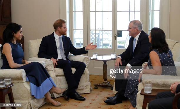 Prince Harry Duke of Sussex and Meghan Duchess of Sussex meet Prime Minister of Australia Scott Morrison and his wife Jenny Morrison at Kirribilli...