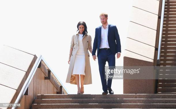 Prince Harry Duke of Sussex and Meghan Duchess of Sussex meet the public at the Sydney Opera House on October 16 2018 in Sydney Australia The Duke...