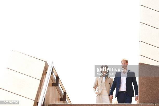 Prince Harry Duke of Sussex and Meghan Duchess of Sussex meet the public at Sydney Opera House on October 16 2018 in Sydney Australia The Duke and...